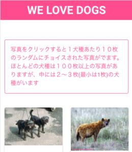犬のギャラリーサイトのトップ画面